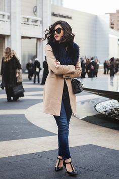 Coat with fur collar & Mary Janes  http://lifeandcity.tumblr.com