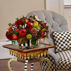 MacKenzie-Childs - Holiday Decor - (smb: I could do this with artificial fruit and greenery. Mackenzie Childs Inspired, Mckenzie And Childs, Fall Decor, Holiday Decor, Shabby Chic Christmas, Homekeeping, Green Life, Roasting Marshmallows, Xmas Decorations