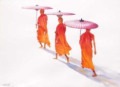 Traveller Monks (4) by Min Wae Aung - watercolor