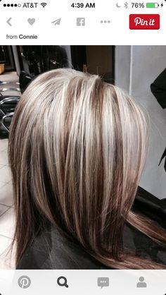 platinum highlights on dark hair - Hair Highlights Chunky Blonde Highlights, Dark Hair With Highlights, Brown Blonde Hair, Platinum Highlights, Caramel Highlights, Gray Hair, Silver Highlights, Icy Blonde, Balayage Highlights