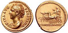 Roman Empire AV Aureus ND struck circa 141 AD Diva Faustina Sr.