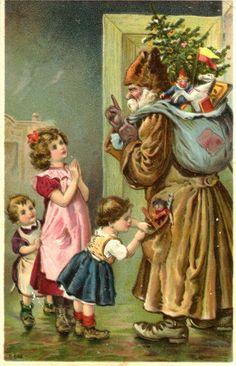 1916 CHRISTMAS POSTCARD-GREEN ROBE SANTA
