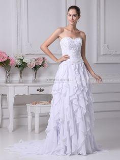 Modestina - robe de mariée a-ligne sans bretelles en mousseline polyester avec broderie