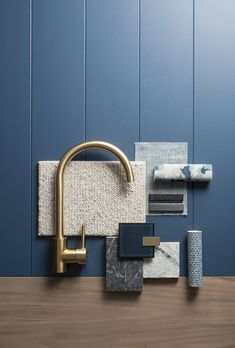 """Cedar + Suede x Easycraft Style Guide """"Elegance"""" A saturated and versatile palette, elevated by brass metals and warm timbers. The use of rich navy creates elegance and calm, simultaneously. Bedroom Color Schemes, Colour Schemes, Color Tile, Brass Color, Mood Board Interior, Interior Architecture, Interior Design, Interior Ideas, Material Board"""