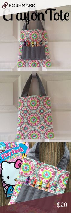 """Girl's Mini Crayon Tote! NWT! Girl's mini crayon tote. NWT! Size is approx 7"""" x 8.5"""". Includes mini coloring book and crayons. Smoke free home! Would make a great soon to be big sister gift! Also great for public quiet time such as libraries, doctor's offices etc. Accessories Bags"""