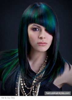 Gorgeous Green Hair Highlights http://www.haircutshairstyles.com/gorgeous_green_hair_highlights-1096.shtml