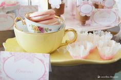 the colors of this shabby chic tea party