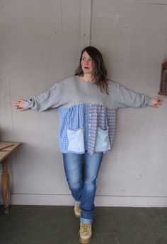 Upcycled tunic top Bohemian clothing patchwork one size slouchy Eco prairie peasant oversize shirt Hippie Gypsy by LillieNoraDryGoods