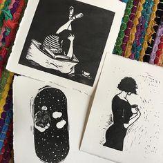 New ladies  #emilyredstudio #emilyjhogan #reliefprint #coffee #tea #bubblegum #galaxy #boobs #readingtime #bath #linocut #linoprint #localscan #get_imprinted #art #arting #emilymeansindustrious #canberraartist #printmaking #printmakersofinstagram