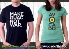 Tees for avocado fans, available on Kickstarter. Grab your #GuacGear now: http://AvocadoShirtCo.com/kickstarter