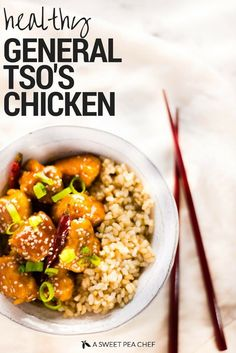 Healthy General Tso's Chicken (a sweet pea chef) Healthy Eating Recipes, Healthy Chicken Recipes, Healthy Meals, Cooking Recipes, Almond Recipes, Gluten Free Recipes, Tso Chicken, Chicken Meals, Healthy Family Dinners