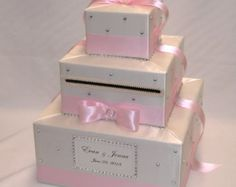White and Pale Pink Wedding Card Box white by ExoticWeddingBoxes