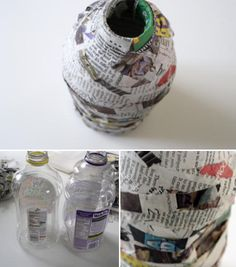papier-mâché pottery -- Materials: newspaper, liquid fabric starch, plastic juice bottle, paint 1. Have the kids tear up some newspaper into chunky strips. 2. Dip the newspaper strips into a bowl of liquid fabric starch, then cover the bottle with the strips. 3. Let dry overnight.