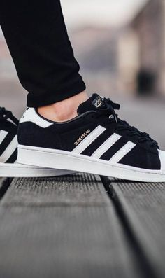 Adidas Women Shoes - ADIDAS Superstar Suede Core Black - We reveal the news in sneakers for spring summer 2017 Women's Shoes, Cute Shoes, Me Too Shoes, Shoe Boots, Shoes Style, Gucci Shoes, Black Adidas Superstar, Adidas Superstar Outfit Summer, Adidas Shoes Women