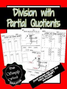 Division using Partial Quotients Method) Vocabulary Worksheets, Math Activities, Teaching Resources, Classroom Resources, Teaching Ideas, Math Teacher, Teaching Math, Maths, Math Skills