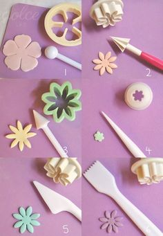 Colorful flower cake: the instructions for making a flower cake. Free tutorial - Colorful flower cake: the instructions for making a flower cake. Fondant Flower Tutorial, Fondant Flowers, Sugar Flowers, Fondant Icing, Fondant Cakes, Cupcake Cakes, Frosting, Cake Decorating Techniques, Cake Decorating Tutorials