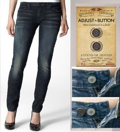 """Find that your jeans are sometimes too tight or sometimes a bit too big? The Adjust a Button is a  movable pin-like button that can instantly adjust waistbands up to an 1½"""" to give you a perfect fit every time. There are 2 metal Adjust-A-Buttons in each pack and they look and feel like an original jeans button. They have a flat back clasp that will not poke or pinch you - reusable for years to come! http://www.secretfashionfixes.ie/adjust-a-button/b6%20buttonpd.html"""