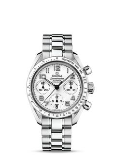 The OMEGA Speedmaster is one of OMEGA's most iconic timepieces. Having been a part of all six lunar missions, the legendary Speedmaster is an impressive representation of the brand's adventurous pioneering spirit.This model features a bold white dial with a date window at the 6 o'clock position and a scratch-resistant sapphire crystal. A small seconds dial, 30-minute recorder and 12-hour recorder grace the dial along with a central chronograph hand.The white ceramic bezel, with its…