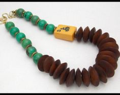 MAHJONG - baquelita Vintage Mahjong azulejos - impresionante hueso turquesa y africano discos 1 de un collar bueno