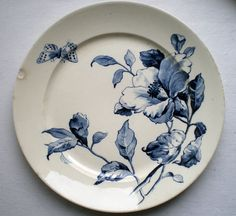 ¤ Manufacture Gien - Eté, motif clématite bleu. French ironstone plate with great blue clematis