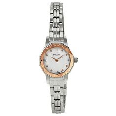 Bulova Diamond Faceted Stainless Steel Ladies Watch ($99) ❤ liked on Polyvore featuring jewelry, watches, analog wrist watch, stainless steel jewelry, diamond watches, bezel watches i bulova watches