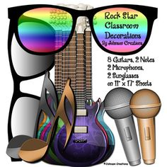 """Rock+Star+Classroom+Decorations+Kit+from+Johnson+Creations+on+TeachersNotebook.com+-++(9+pages)++-+This+kit+contains+2+large+pairs+of+sunglasses+(dark+shades,+rainbow+shades),+2+large+musical+notes+(gold+note,+silver+note),+2+microphones+(1+gold,+1+silver)+and+8+guitars+in+all+different+colors.+Items+are+on+11""""+x+17""""+sheets.+These+decorations"""