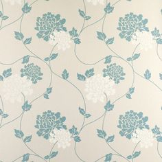 Isodore Teal Floral Wallpaper at Laura Ashley