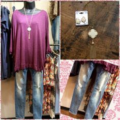 """This outfit has a simple fashion forward edge to it! Our Young At Heart Ruffle Blouse compliments our Vigoss Light Wash Premium Denim Jeans perfectly! We have recently doubled our selection of necklaces and we are showing one off with this #ootd! Come see us!  """"Be joyful in hope, patient in affliction, faithful in prayer."""" Romans 12:12"""