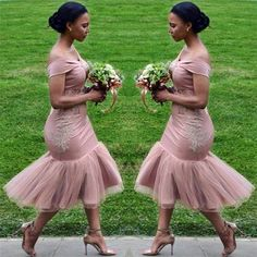 Bridesmaid Dresses 2018 Blush Pink Country Off Shoulder Beach Wedding Party Guest Dresses Arabic Junior Maid of Honor Dress Cheap Tea-length African Bridesmaid Dresses, Dusty Pink Bridesmaid Dresses, Designer Bridesmaid Dresses, Bridesmaid Dresses Online, Wedding Dresses, Dresses Dresses, Bridesmaid Ideas, Wedding Outfits, Evening Dresses