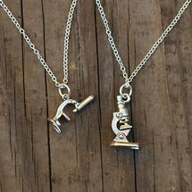 Microscope necklace - your choice of a vintage or modern style microscope charm.