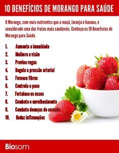 The Benefits of Strawberry for Health Source by saudeemdiaoficial Healthy Lifestyle Tips, Healthy Tips, Healthy Eating, Healthy Recipes, Health Diet, Health And Nutrition, Health Fitness, Smoothies Detox, Atkins