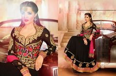 USD 122.21 Celina Jaitly Black Embroidered Bollywood Anarkali Suit 38536