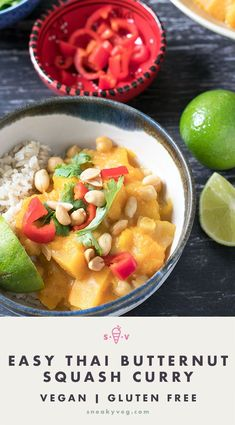 A delicious and fragrant Thai butternut squash curry made with yellow curry paste. Pumpkin can be used instead. Suitable for vegetarians and vegans. #vegancurry #thaicurry #pumpkincurry #butternutsquashcurry #vegan