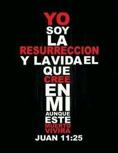 Juan 11:25 Le dijo Jesús: Yo soy la resurrección y la vida; el que cree en mí, aunque esté muerto, vivirá.♔