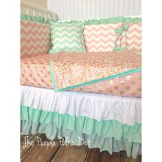 Hey, I found this really awesome Etsy listing at https://www.etsy.com/listing/230192948/mint-coral-and-gold-custom-crib-bedding