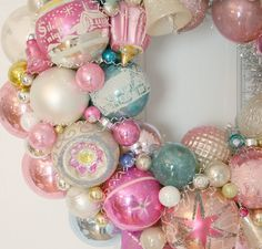 Image of Pink and Perfection Vintage Shiny & Brite Ornament Wreath
