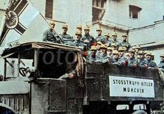 truck carrying nazi members during the Beer Hall Putsch, Munich, Germany 1923.