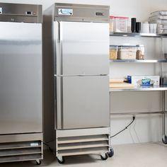 """Avantco SS-1R-2-HC 29"""" Stainless Steel Solid Half Door Reach-In Refrigerator Top Freezer Refrigerator, French Door Refrigerator, Ozone Depletion, Polyurethane Insulation, Half Doors, Solid Doors, Epoxy Coating, Stainless Steel Doors, Slide Design"""