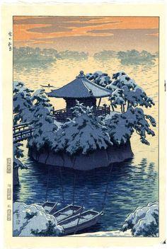 Kasamatsu Japanese Woodblock Print Snow at Godaido 1954 | eBay