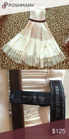 BCBG MaxAzria Lucea pleated Dress! Cream beige & black pleated dress! Gorgeous, stunning, flowy! Ultra feminine! Size 2 perfect Condition! BCBGMaxAzria Dresses Midi