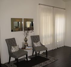 Sheer white draperies with a touch of classic elegance. Custom Drapery, Drapery, Furniture, Contemporary Windows, White Drapery, Contemporary, Home Decor, Dining Table, Contemporary Window Coverings