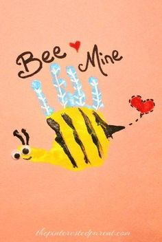 Valentine's Hand Print craft for kids- Bee Mine