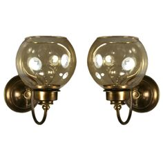 1stdibs | Pair Amber Glass Globe Sconce