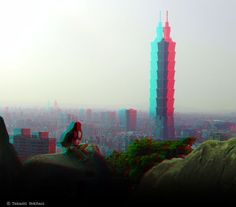 IMAGINATION - a phone call (3D - anaglyph) Empire State Building, View Photos, Red And Blue, Imagination, 3d, Phone, Photography, Travel, Image