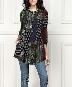 Black & Green Abstract Button-Front Side-Pocket Tunic - Plus Too