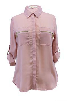Quarter Sleeve Zippered Pockets Buttoned Blouse