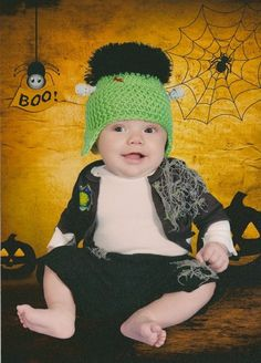 Frankenstein photo prop halloween mini session baby photography