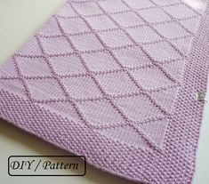Do knit Yourself! Adorable baby blanket Chloe pattern with diamonds. This blanket is knitted in one piece in knit and in purl stitches.  Take your needles and enjoy knitting this blanket by yourself ! ♥ This listing is an INSTANT DOWNLOAD pattern (PDF is a 2 pages download file with the written instructions).  ♥ This pattern is written in standard US terms (in English)  ♥ The finished blanket is 24.80 x 32.68 (63 cm x 83 cm).  ♥ This blanket is knitted from 100 % Merino wool ( Drops Design…