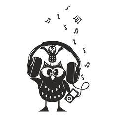 Owl Music Design SVG, DXF, EPS, Png, Cdr, Ai, Pdf Vector Art, Clipart instant…