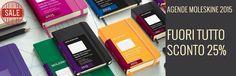 Tutte le agende Moleskine 2015 da gennaio fino ad esaurimento scorte le troverete scontate del 25%. Auguriamo a tutti un 2015 da appuntare continuamente, pieno di impegni, di rotture di scatole, di clienti nuovi, di fornitori affidabili, di entusiasmo, di gioia, di soddisfazioni.  Nel caso abbiate bisogno di un pezzo di carta dove scrivere noi saremo aperti tutto l'anno.   #moleskine #agenda #2015 #promo #sconto #notebook #diary #weekly #daily #planner #planning